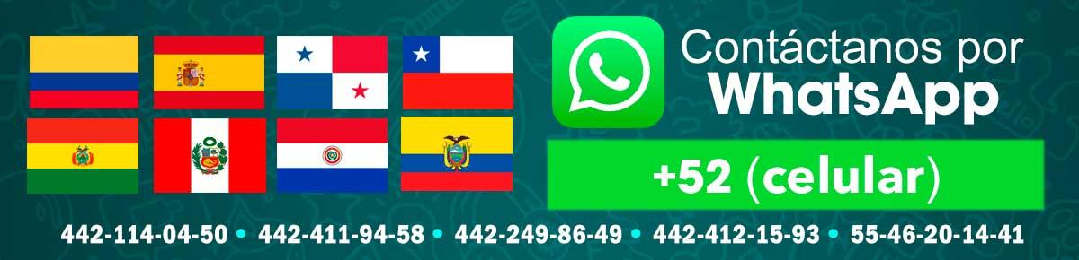 Contáctanos por WhatsApp: Colombia, España, Panamá, Chile, Bolivia, Perú, Paraguay, Ecuador